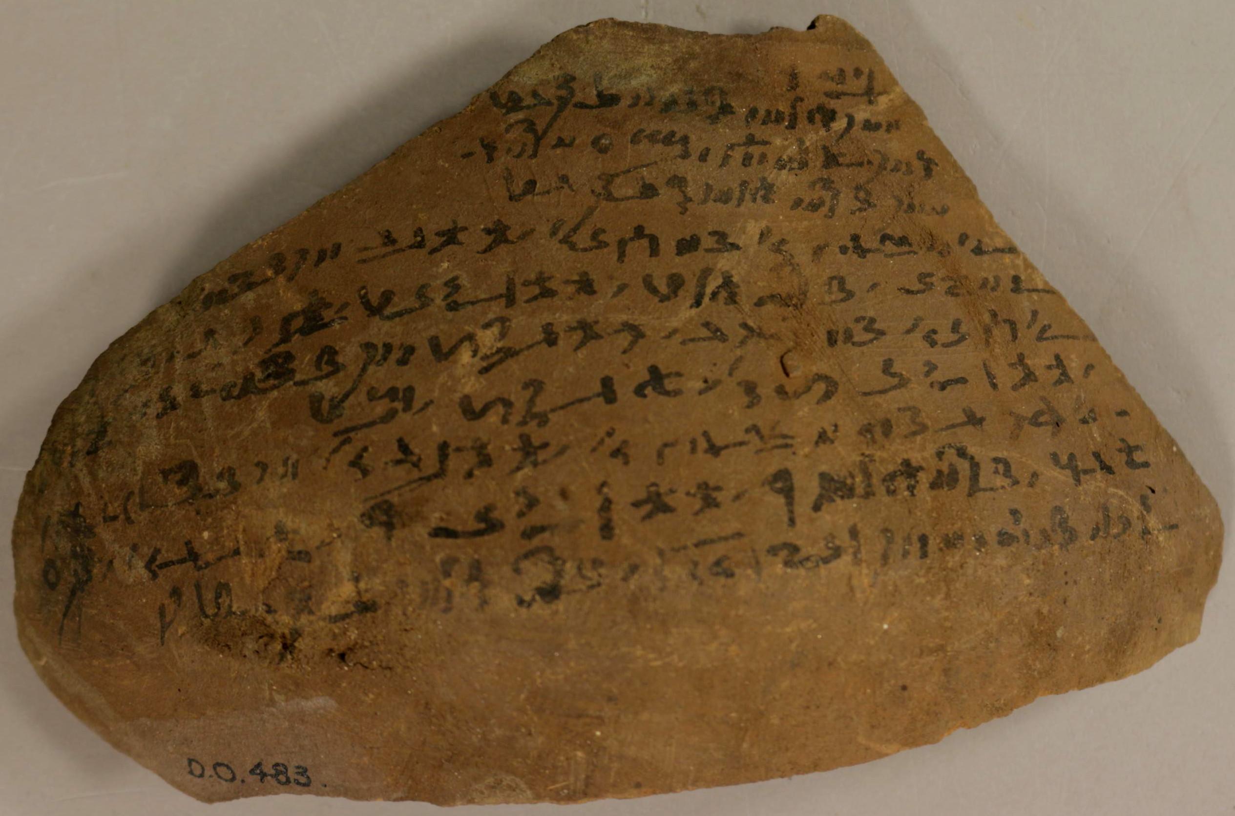 Ägyptisches Ostrakon (Ashm. Dem. 483) mit Berechnung der Positionen des Merkur nach babylonischem Verfahren (courtesy Ashmolean Museum Oxford)